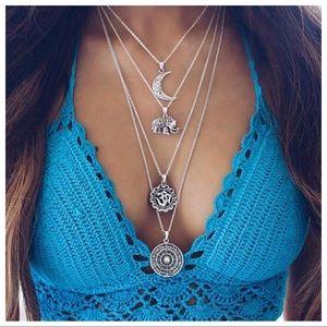 Boho Multi-layer Moon Elephant Pendant Necklace